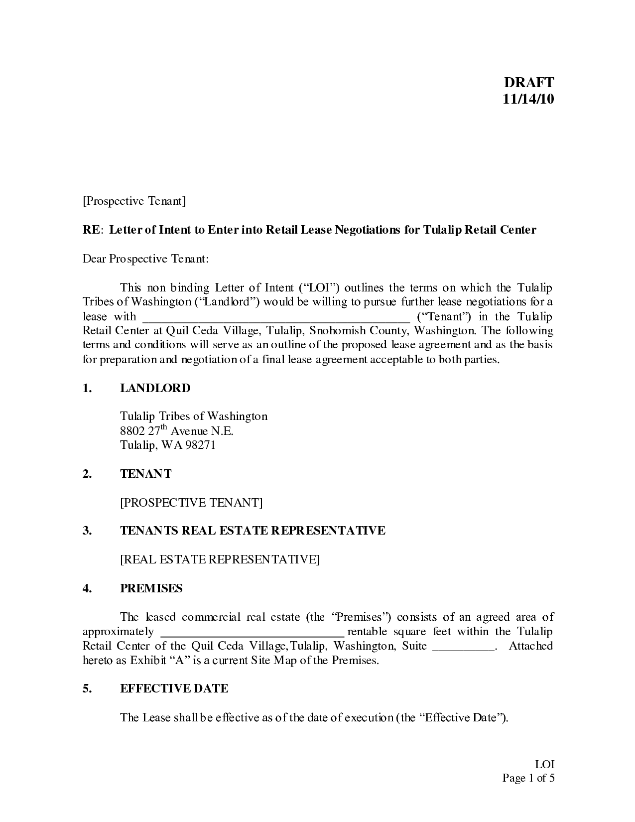 Letter Of Intent Commercial Lease Template