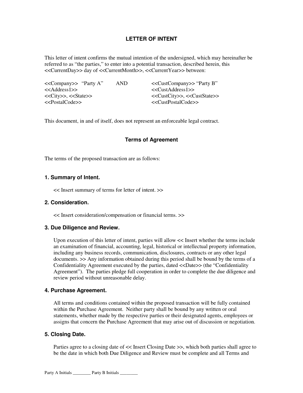 Letter Of Intent Contract Template