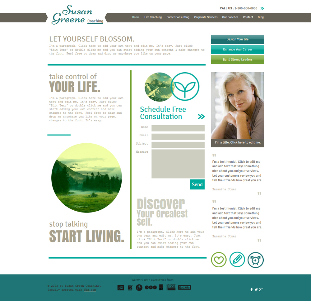 Life Coach Website Templates Free