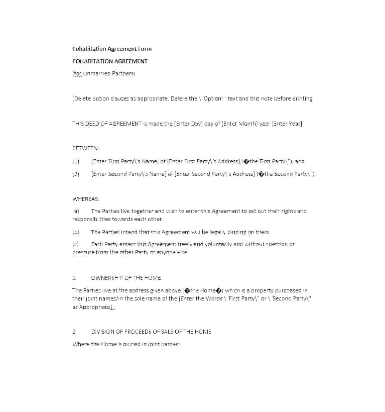 Living Together Agreement Cohabitation Agreement Template
