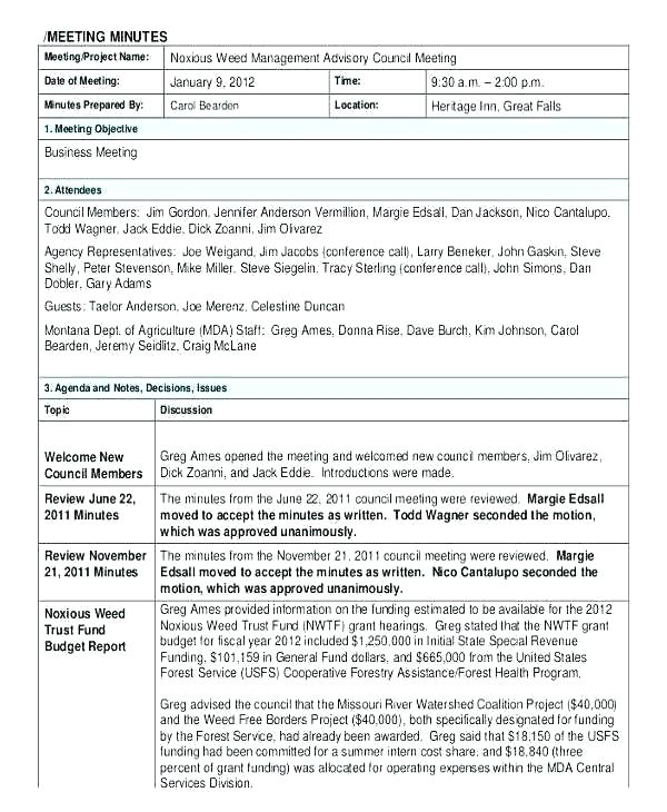 Llc Meeting Minutes Template Doc