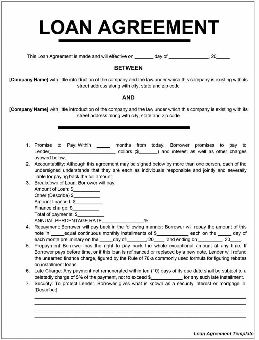 Loan Agreement Template South Africa Free