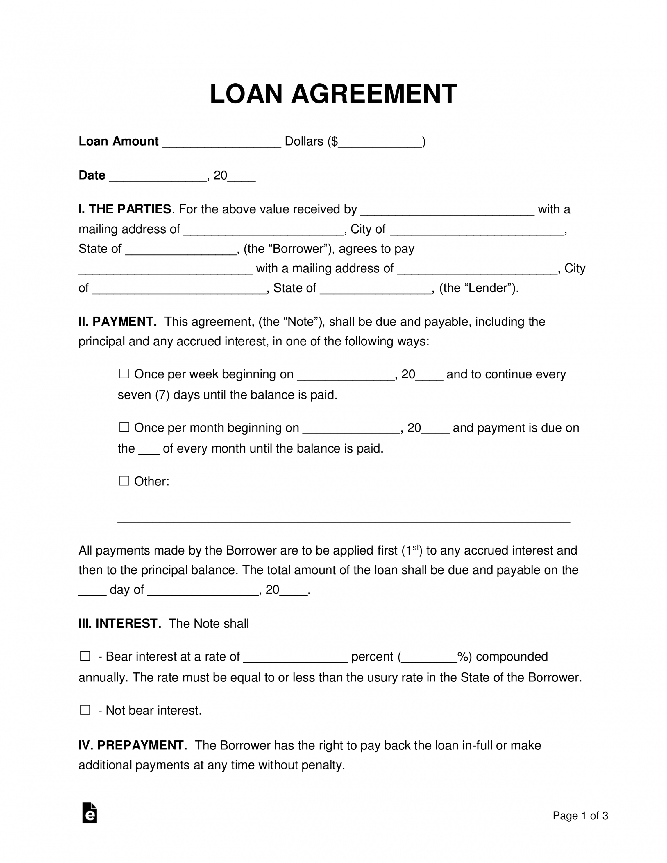 Editable Free Loan Agreement Templates Pdf Word Eforms Free Loan Agreement With Collateral Template Pdf