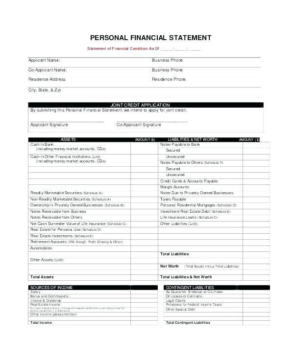 Loan Statement Template Word