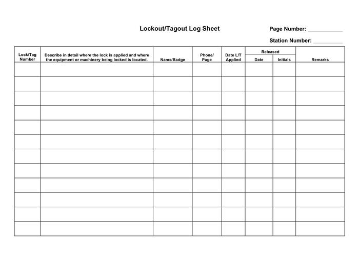 Lockout Tagout Log Sheet Template