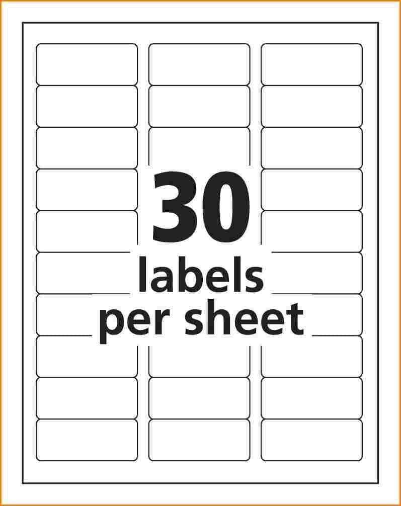Mailing Label Template 30 Per Sheet