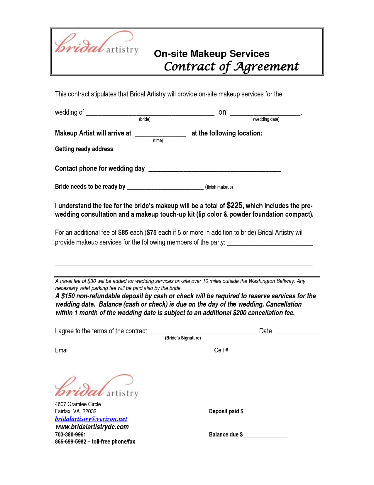 Makeup Artist Contract Template Free