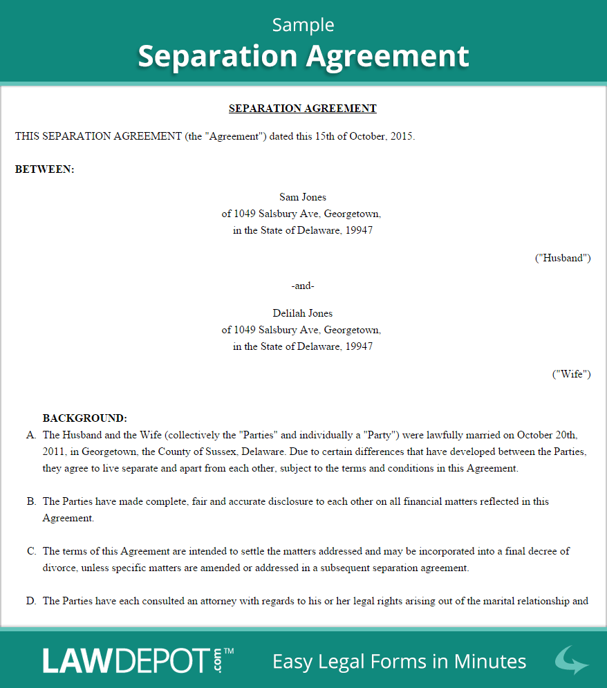 Marital Separation Agreement Template