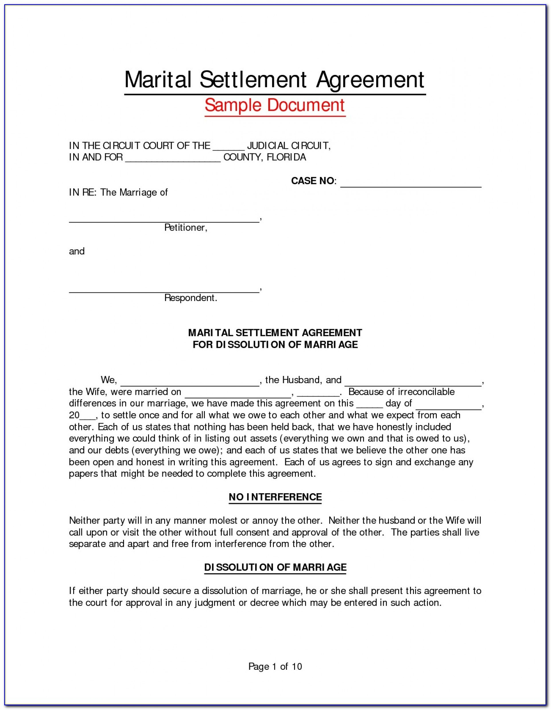 Marital Separation Marriage Separation Agreement Template