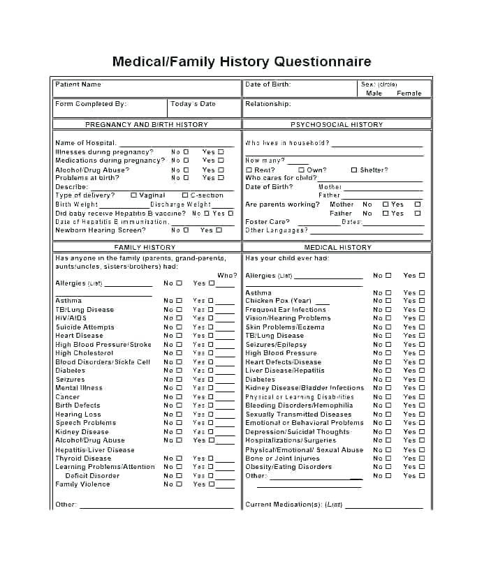 Medical History Questionnaire Template