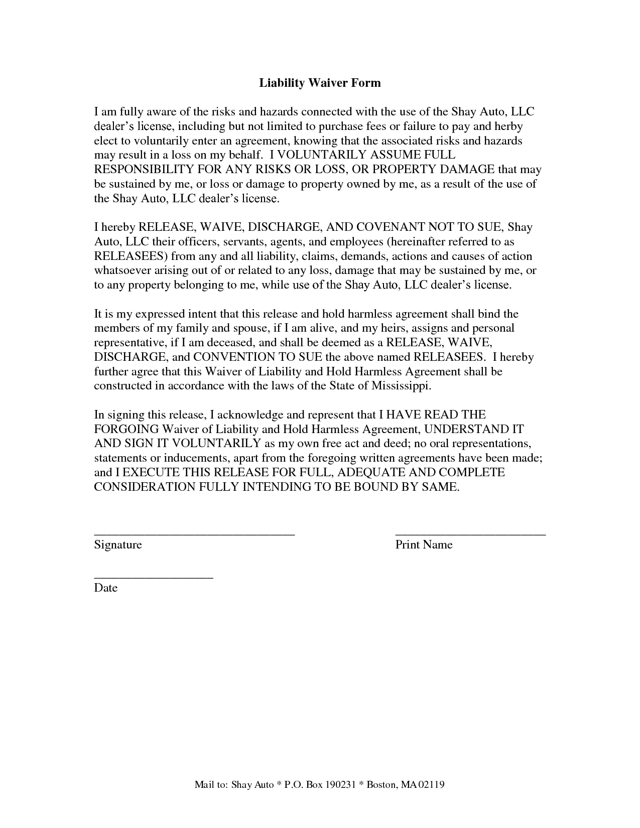 Medical Insurance Insurance Waiver Form Template