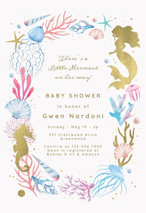 Mermaid Baby Shower Invitation Template Free