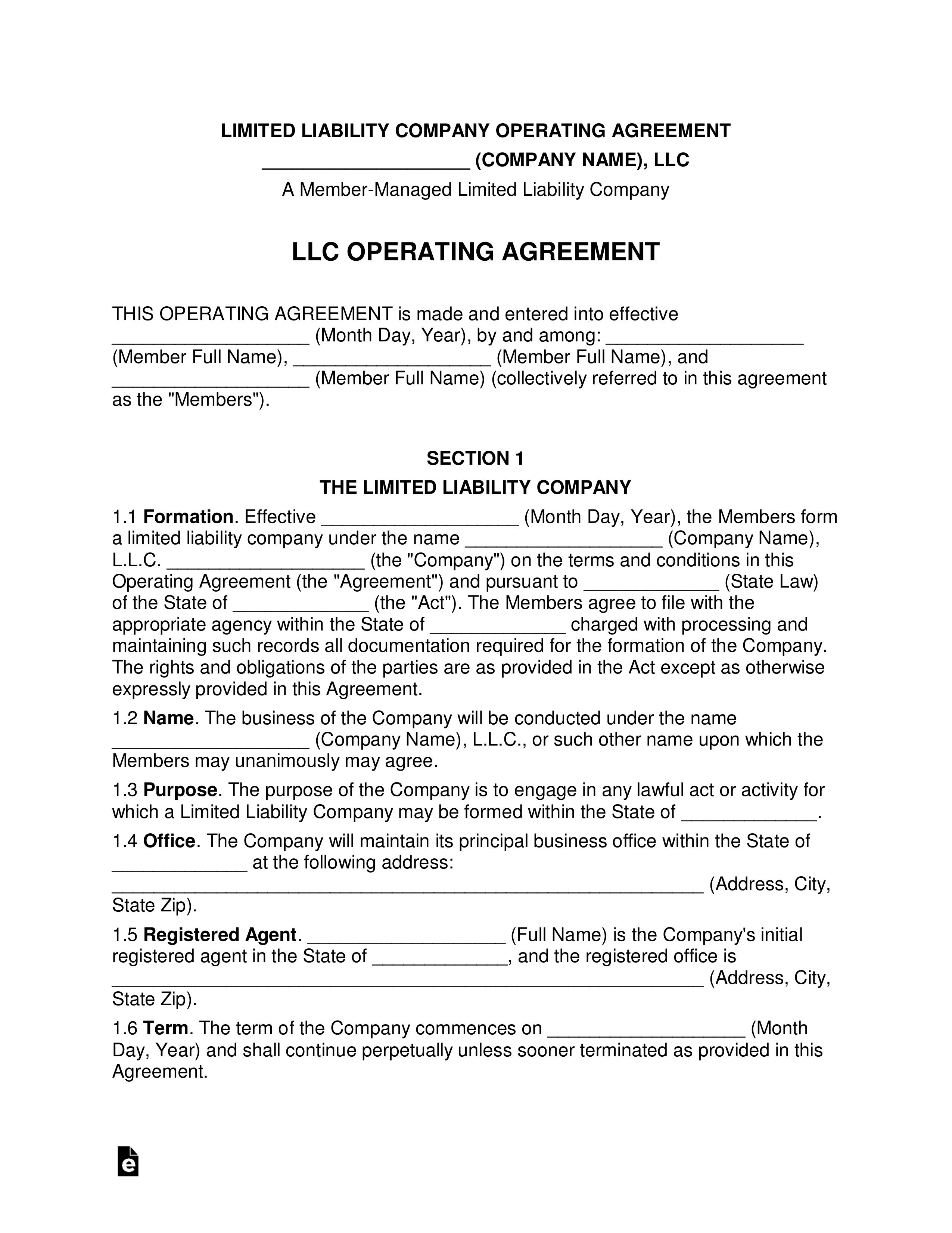 Michigan Llc Operating Agreement Template