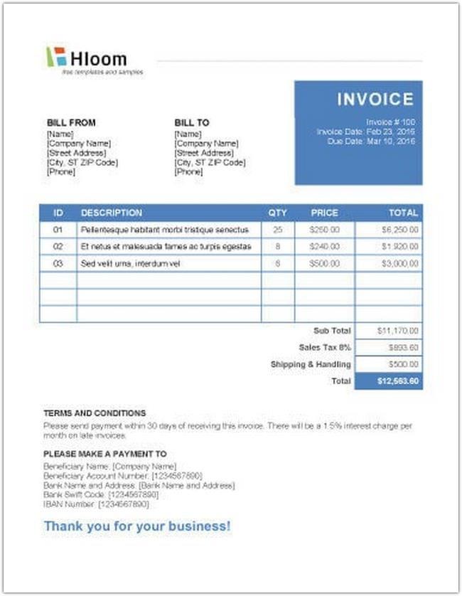 Microsoft Word Invoice Templates