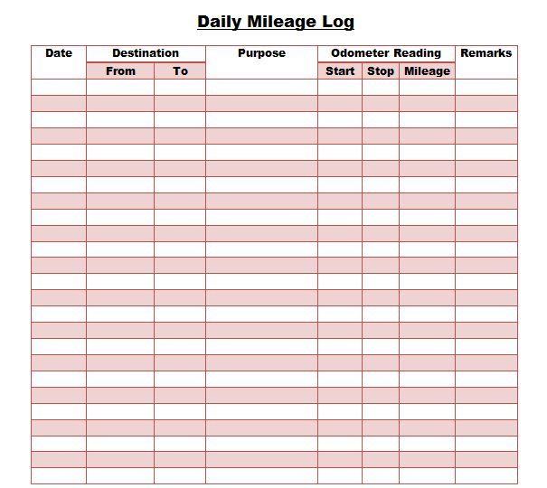 Mileage Calendar Template