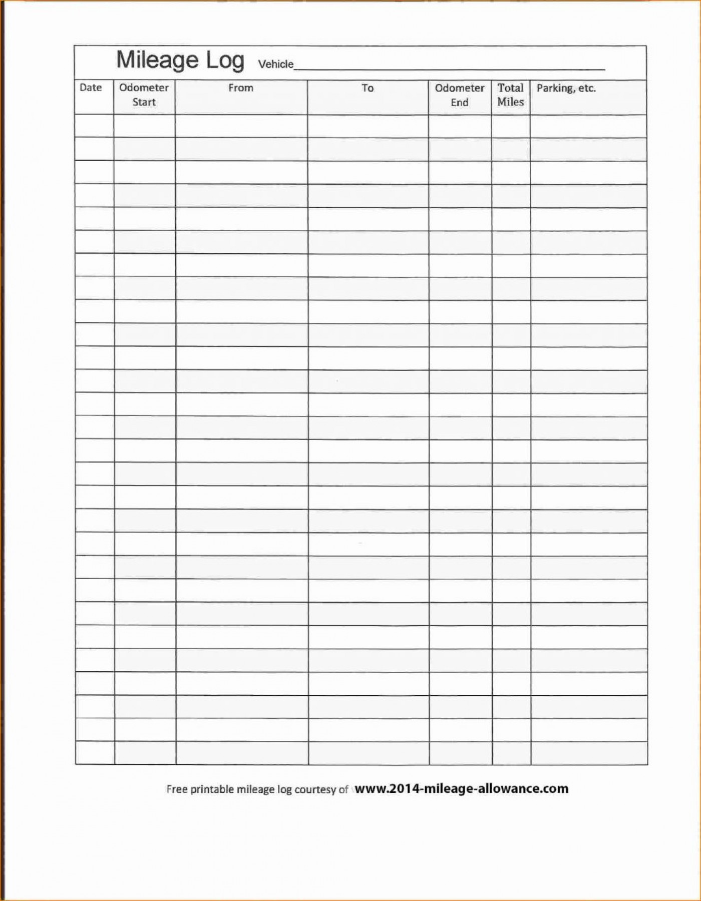 Mileage Log Book Template For Tax Purposes