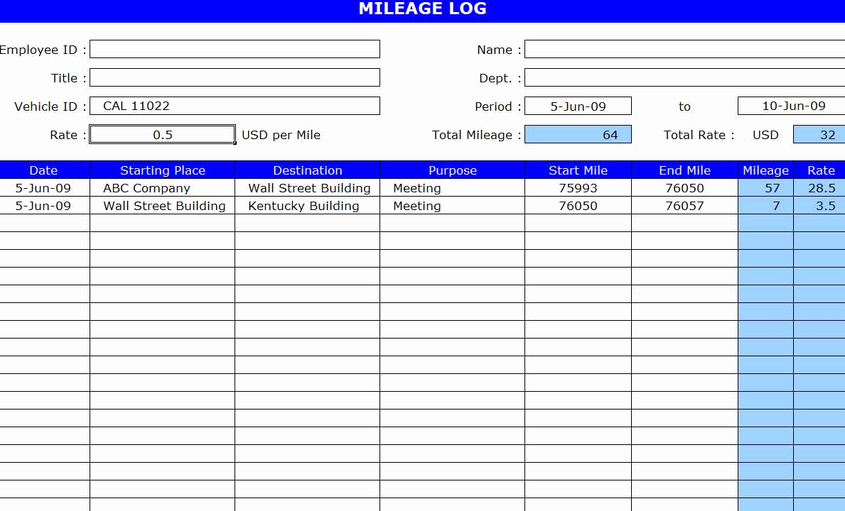 Mileage Spreadsheet For Taxes Of Free Mileage Log Template