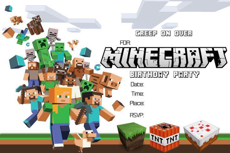 Minecraft Invitations Template