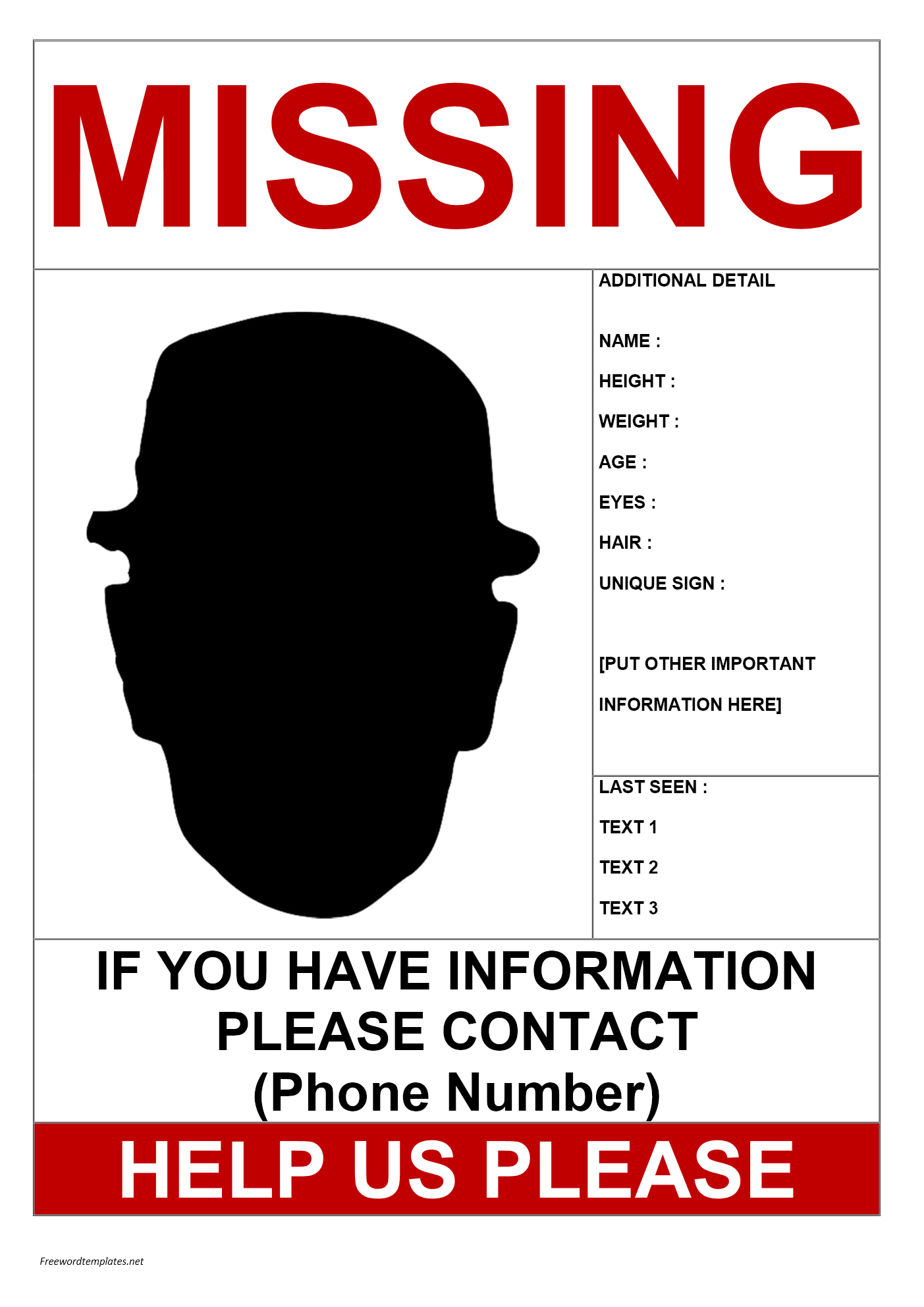 Missing Person Flyer Template Free