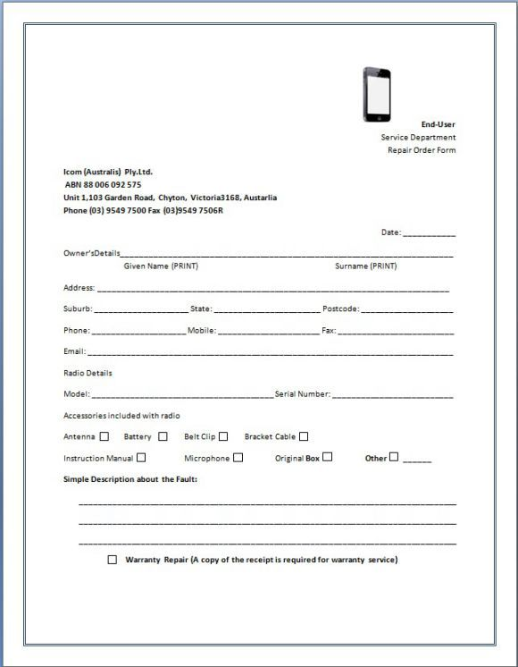 Mobile Phone Repair Receipt Template