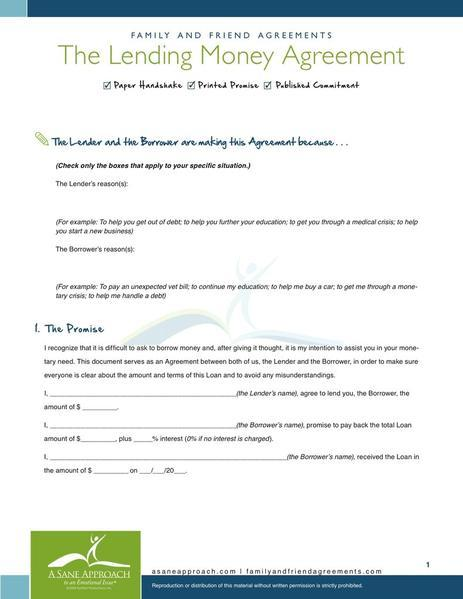 Money Borrowing Contract Template