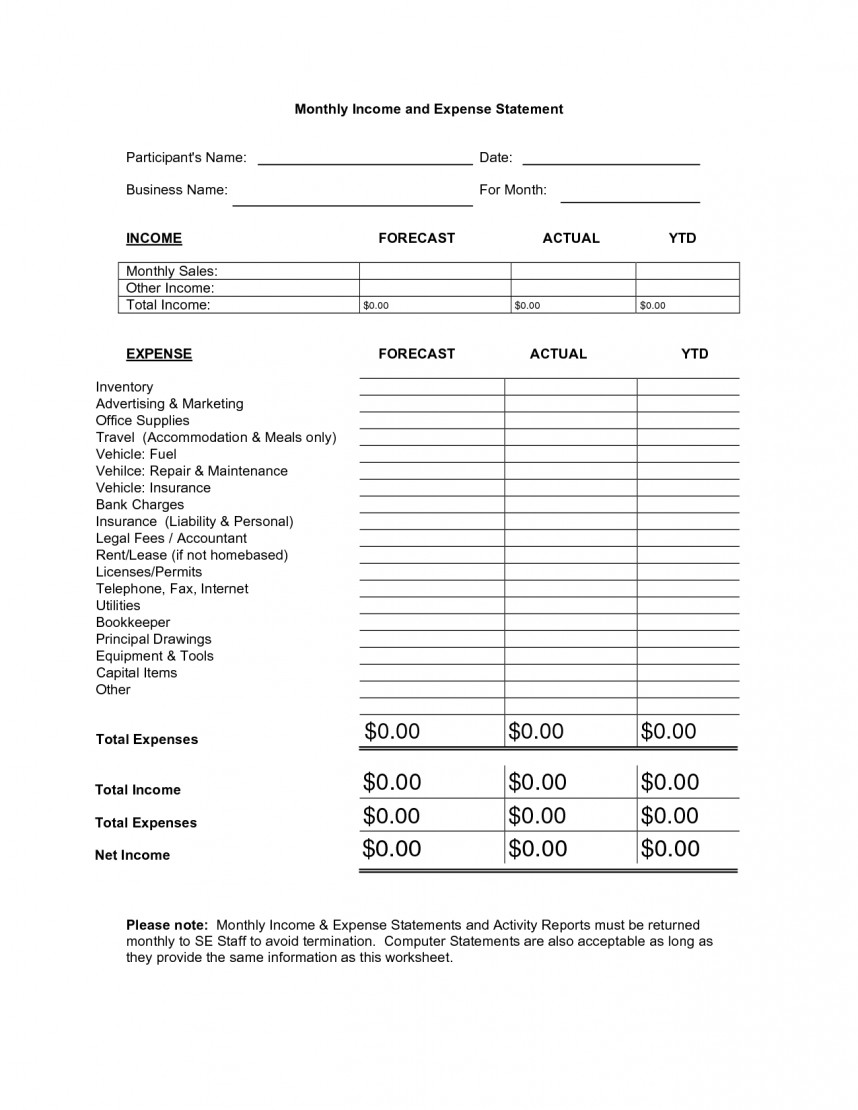 Monthly Income And Expense Statement Template