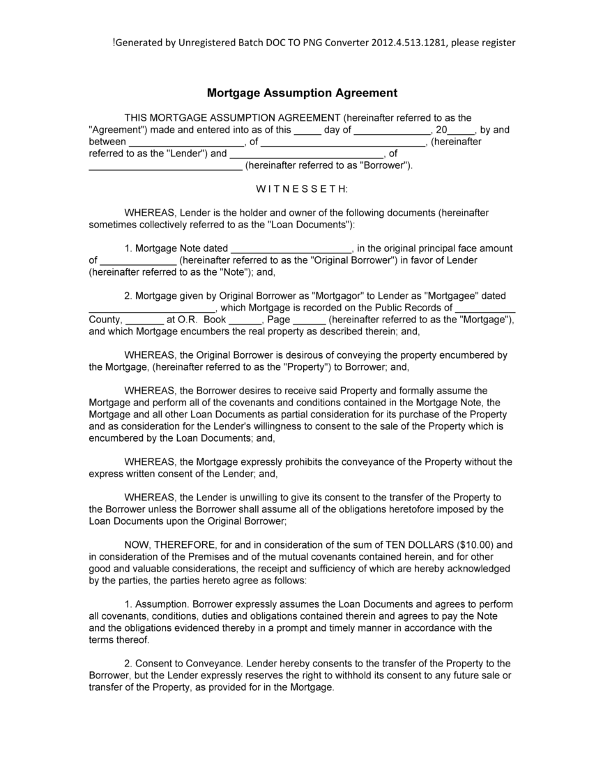 Mortgage Assumption Agreement Template