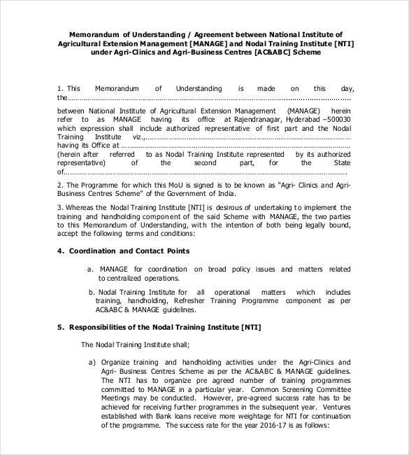 Memorandum Of Agreement Samples Inspirational 41 Memorandum Of Understanding Templates Pdf Google