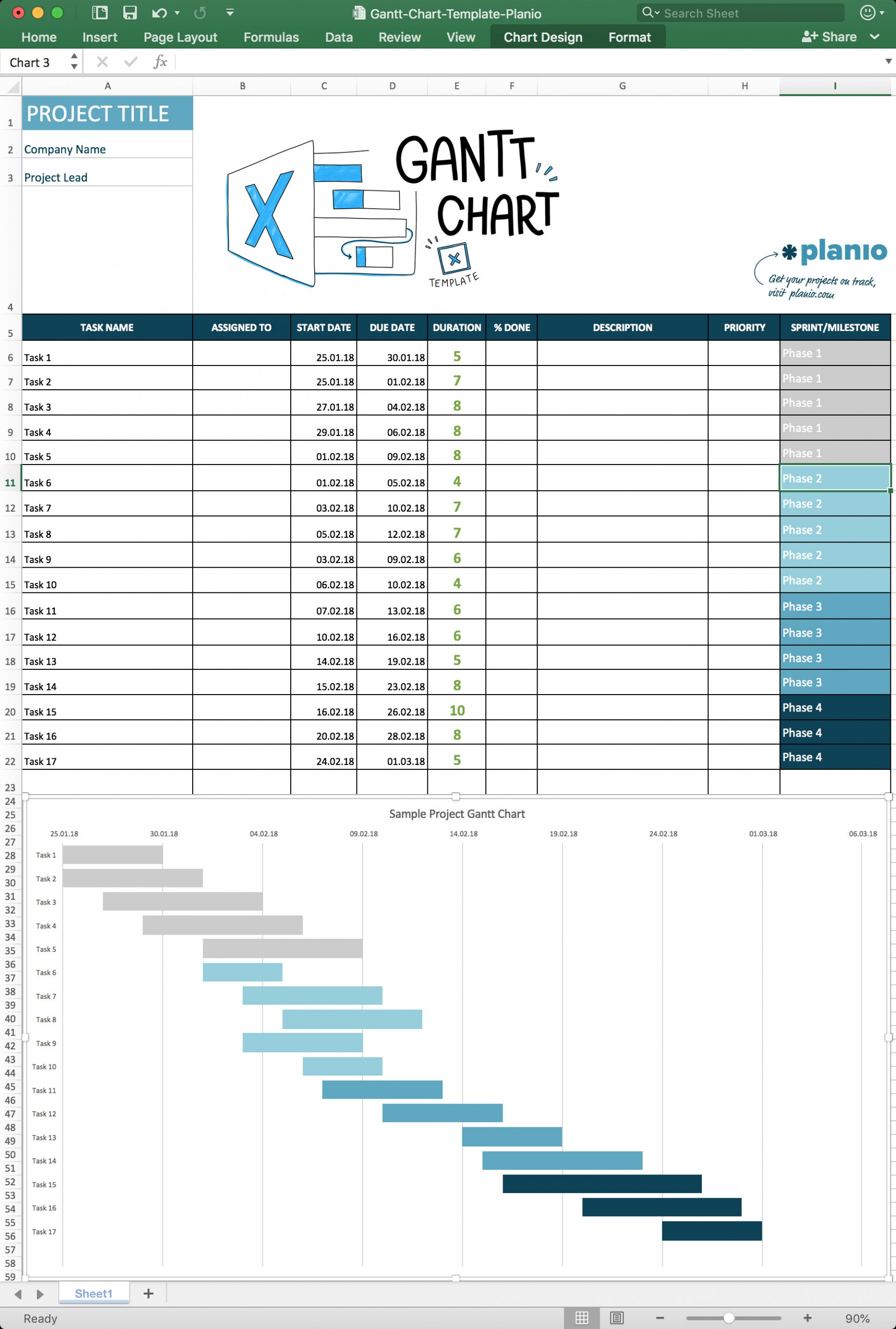 Ms Project Gantt Chart Template