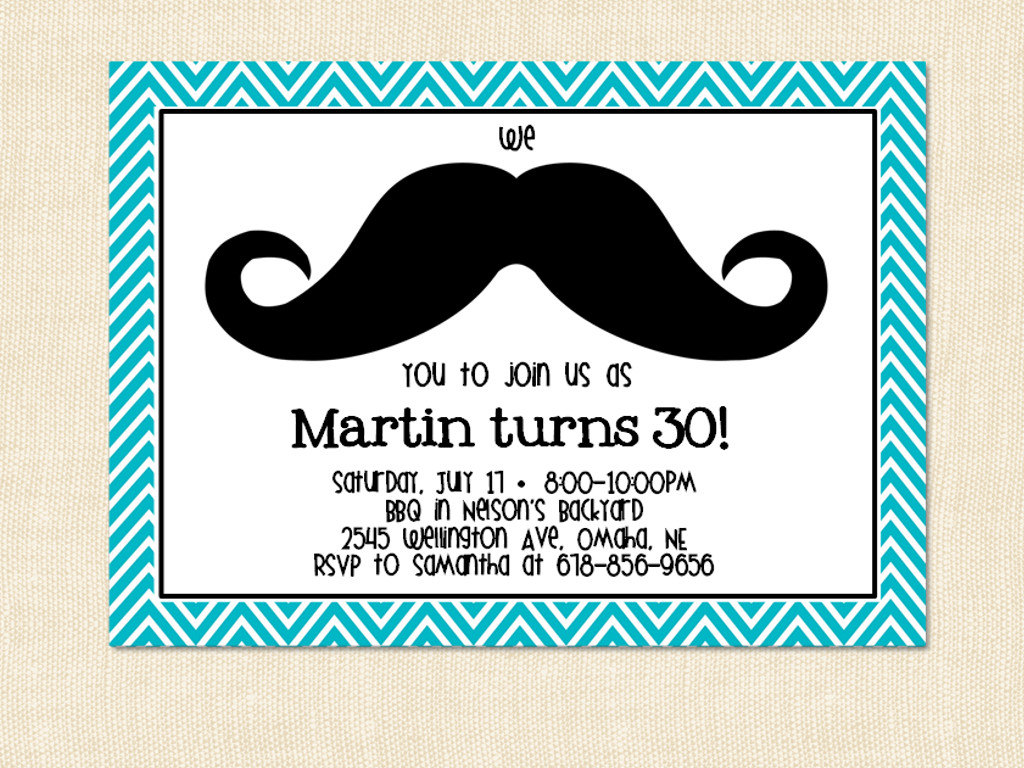 Mustache Birthday Invitation Template Free