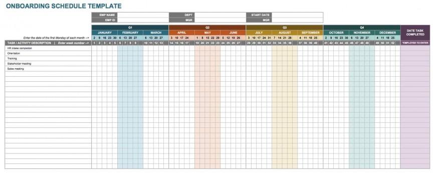 New Employee Onboarding Schedule Template