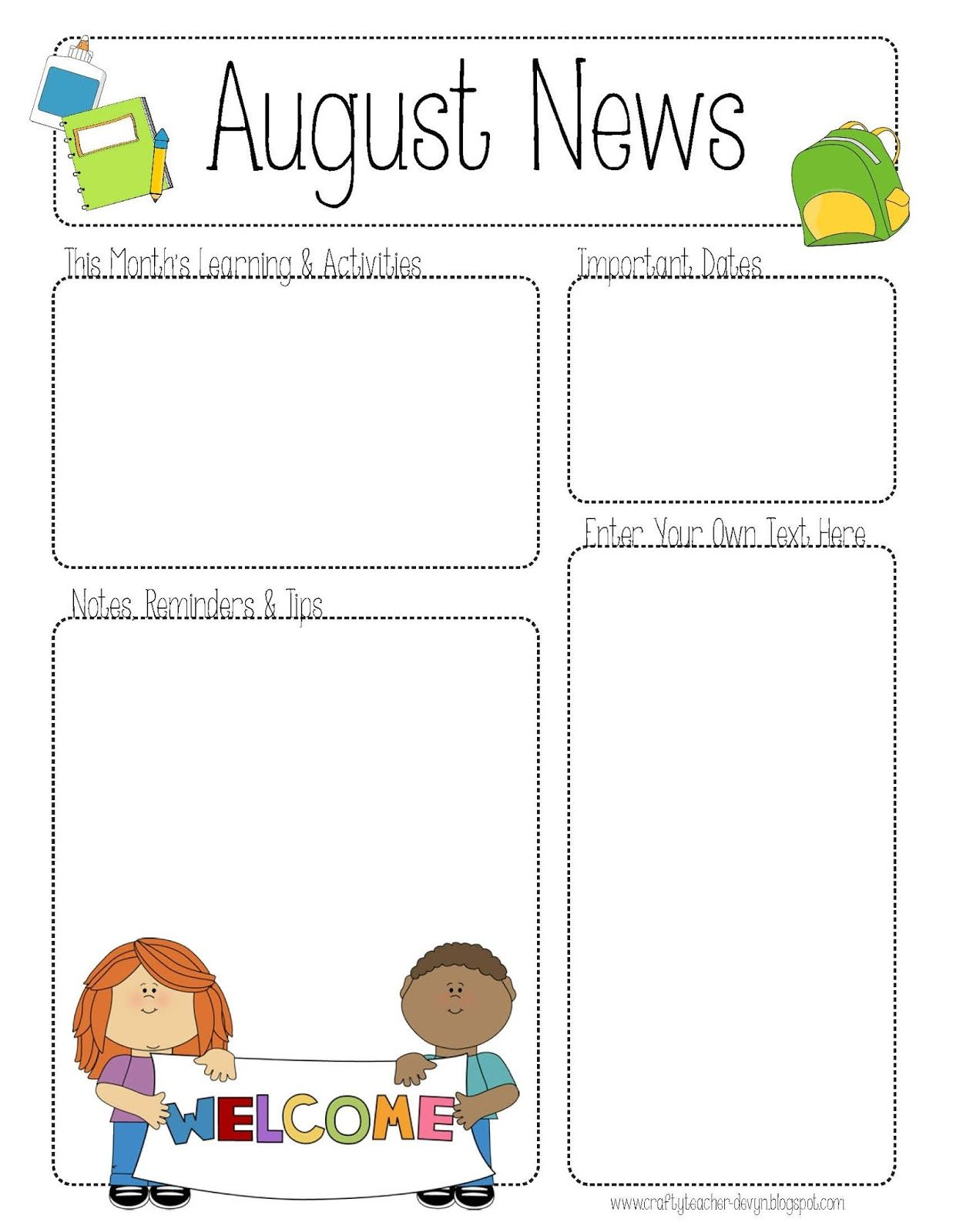 Newsletter Templates For Preschool Teachers