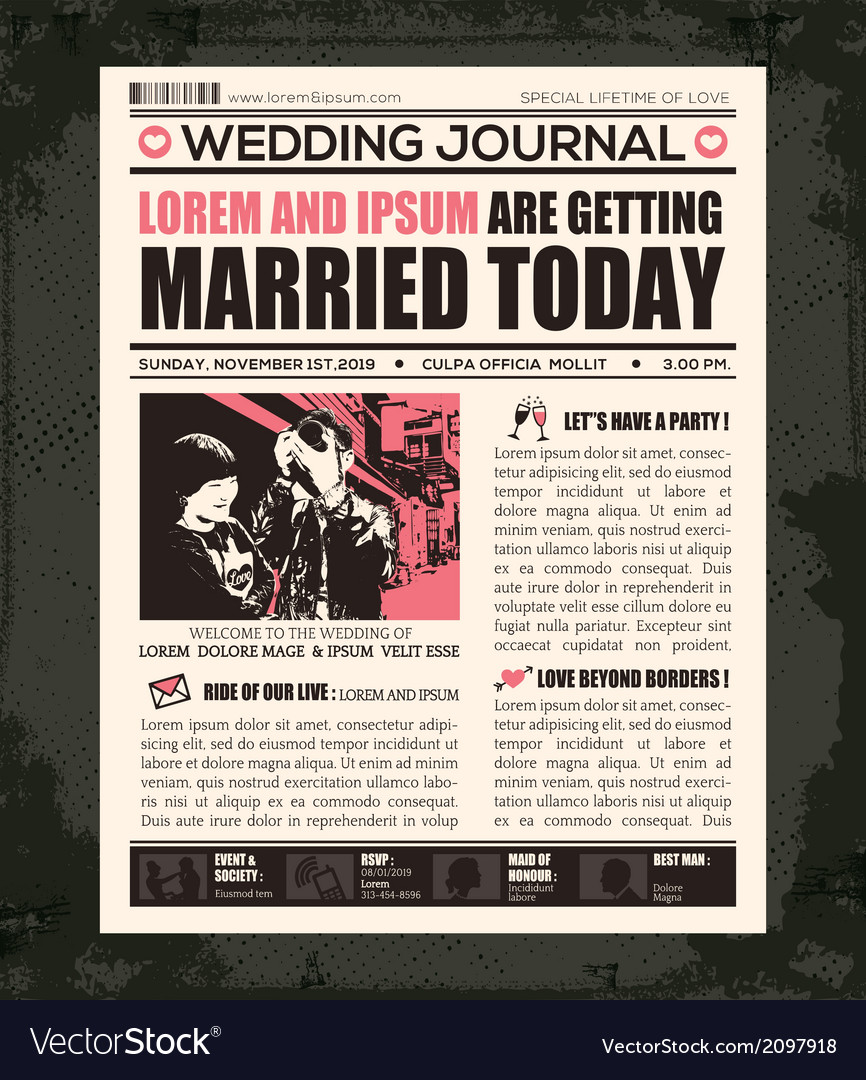 Newspaper Style Invitation Template
