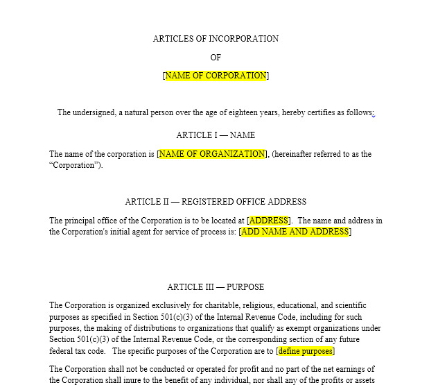 Non Profit Articles Of Incorporation Template