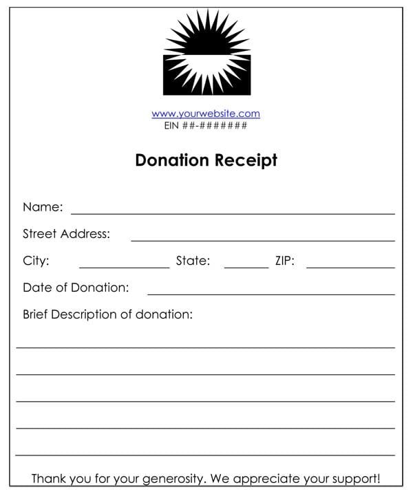 Non Profit Cash Donation Receipt Template