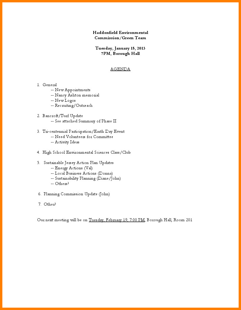 Non Profit Nonprofit Board Meeting Agenda Template
