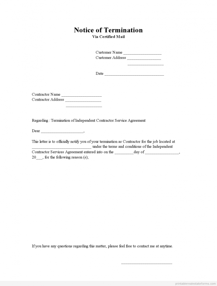 Notice Of Contract Termination Template