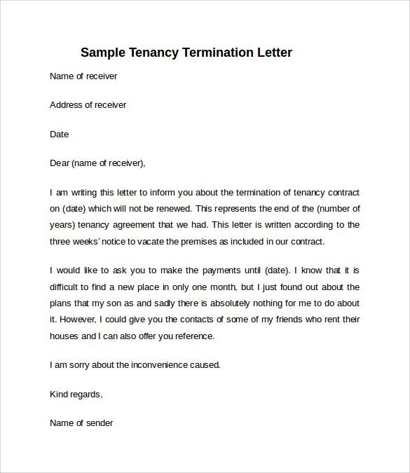 Notice To Vacate Letter From Landlord To Tenant Template