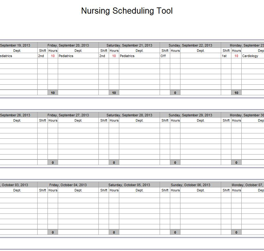 Nurse Schedule Template Excel