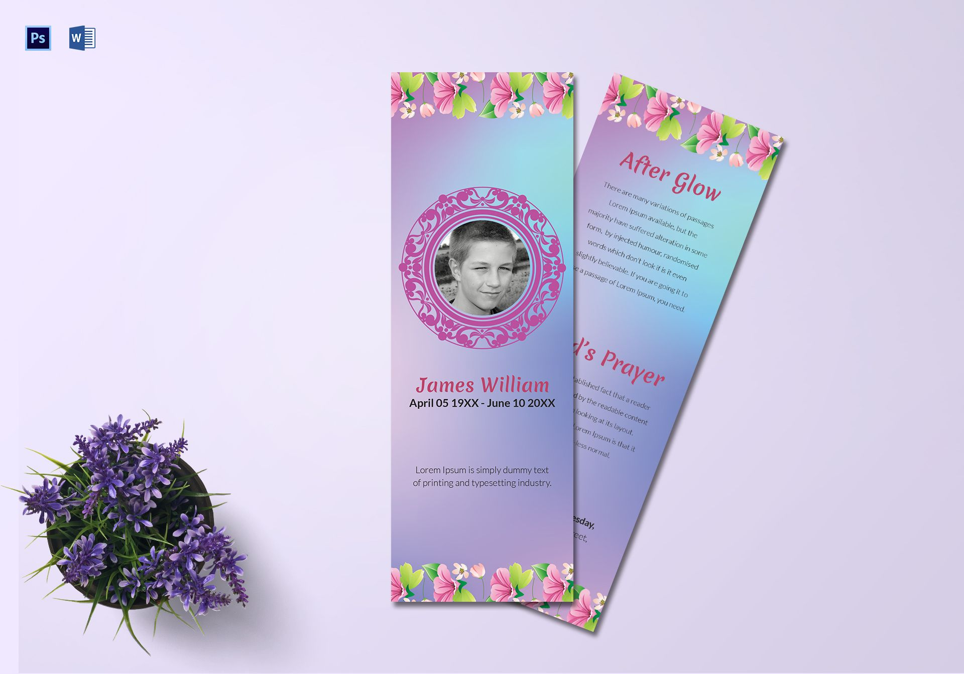 Obituary Bookmark Template