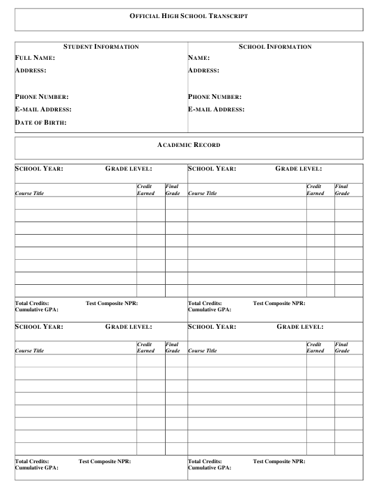 Official High School Transcript Template