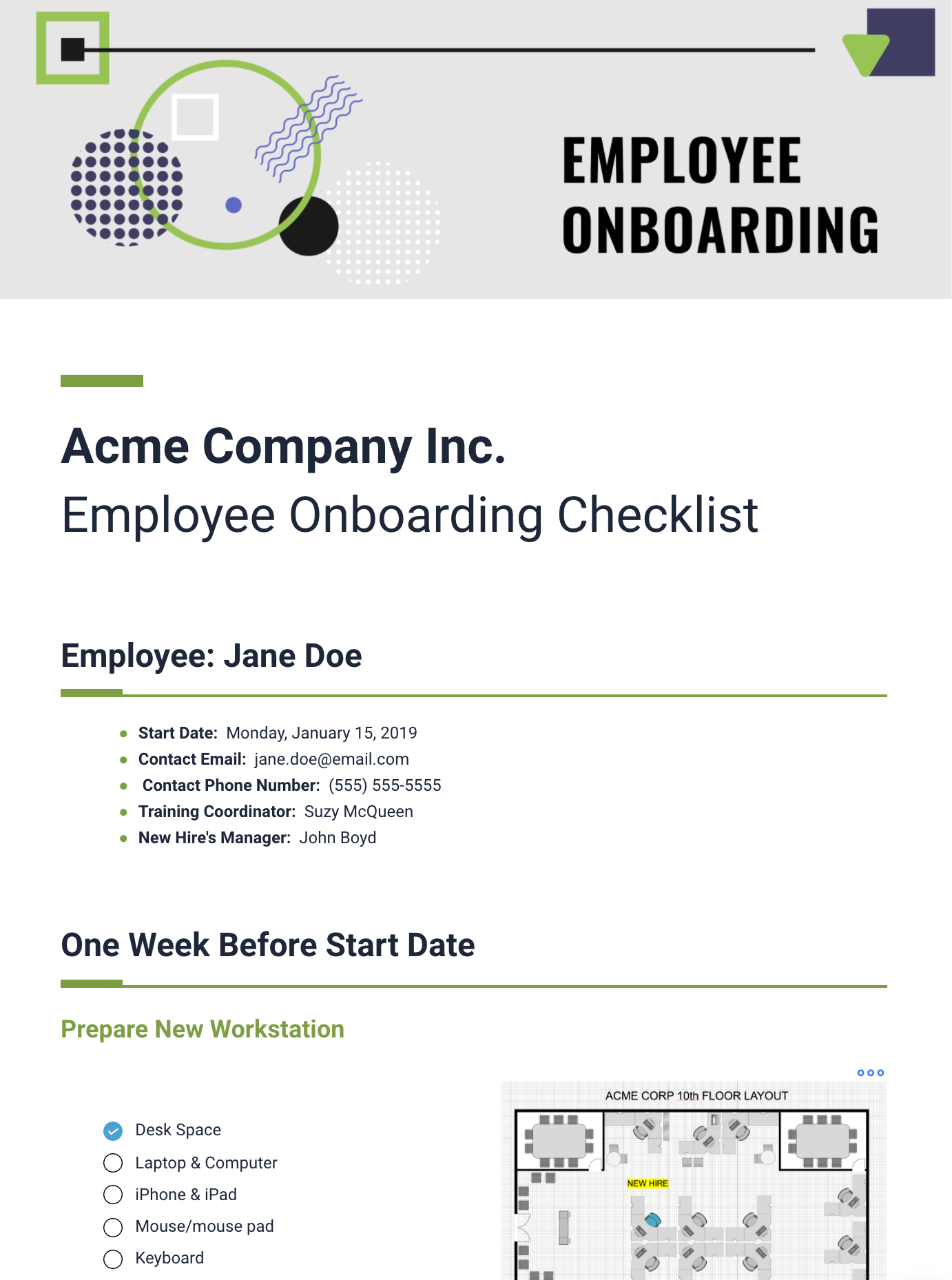 Onboarding Document Template