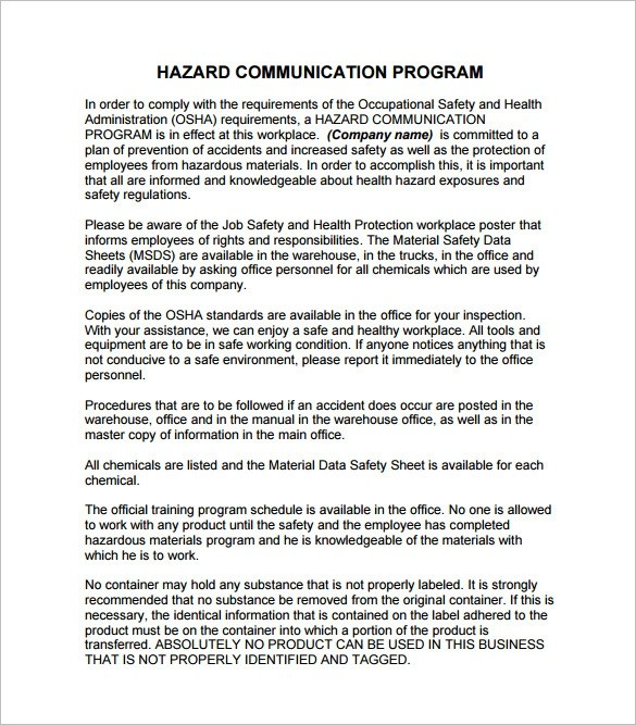 Osha Hazard Communication Standard Template