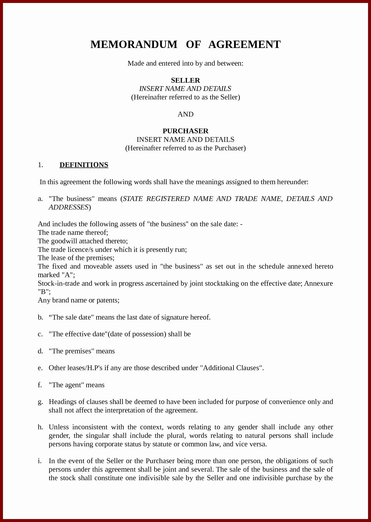 Business Memorandum Of Understanding Template Or Business Partnership Agreement Sample For Strategic Memorandum Of
