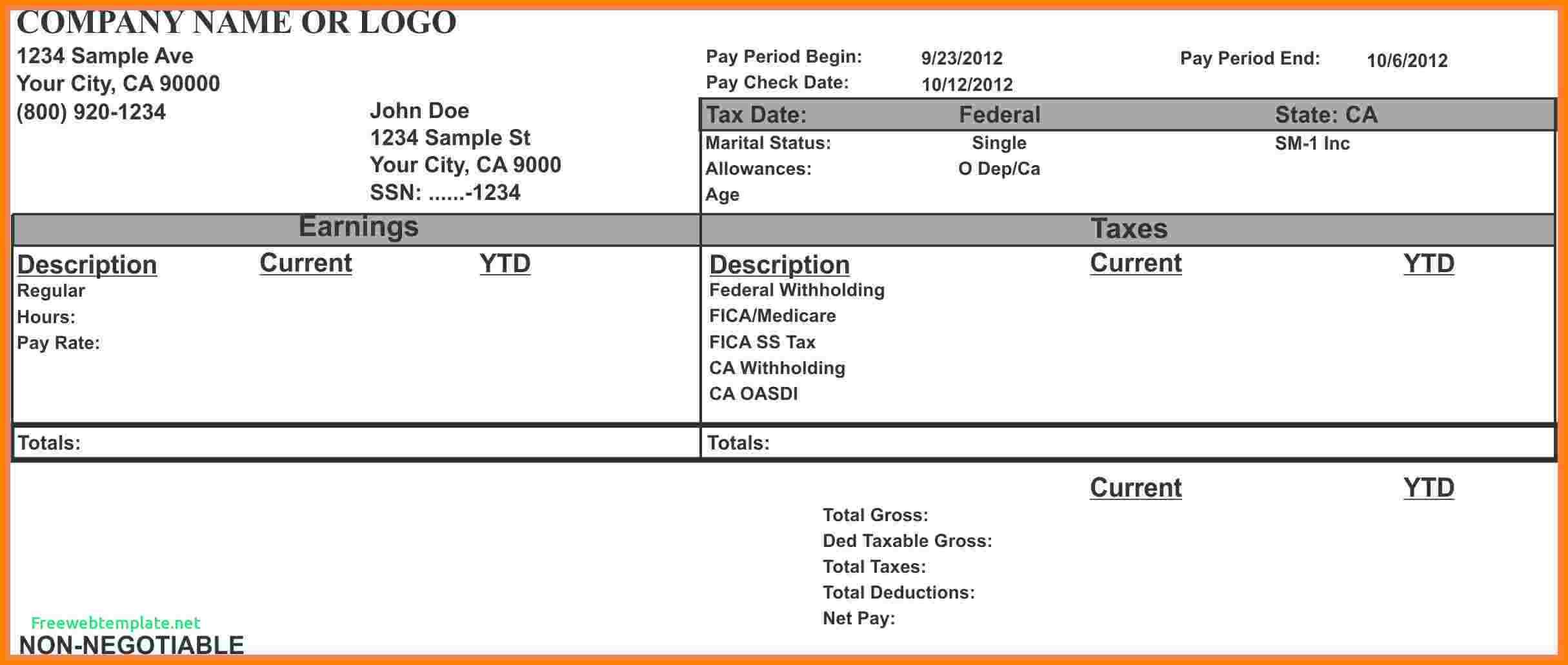 Blank Pay Stub Template Word Fresh 10 1099 Pay Stub Template