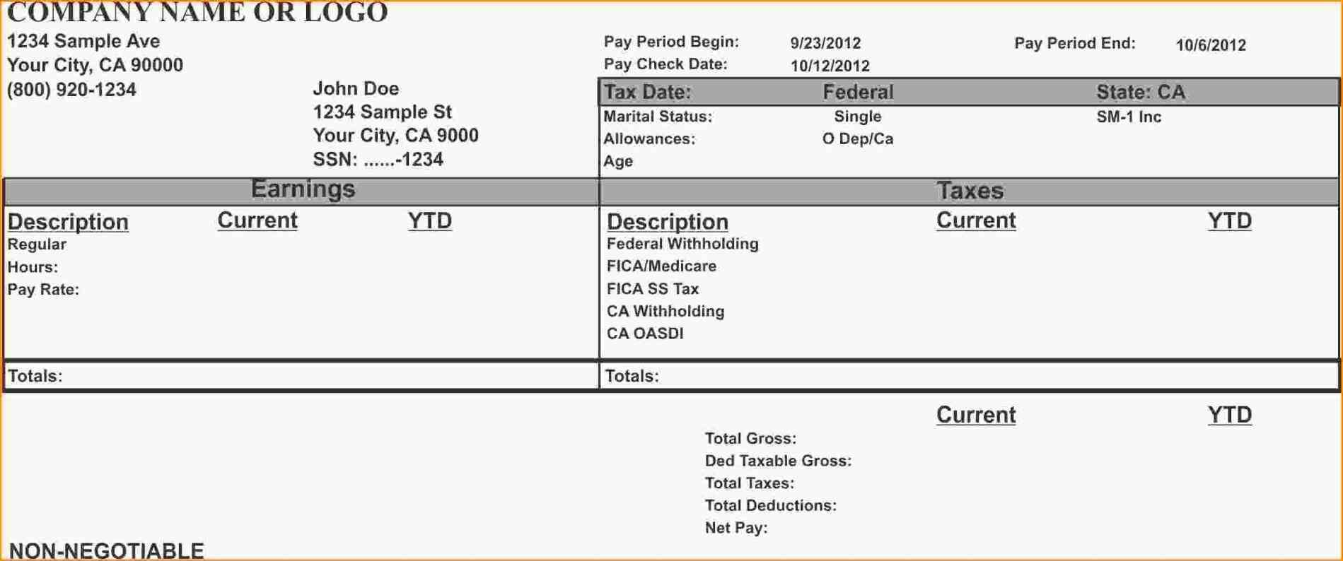 Payroll Pay Stub Template Free