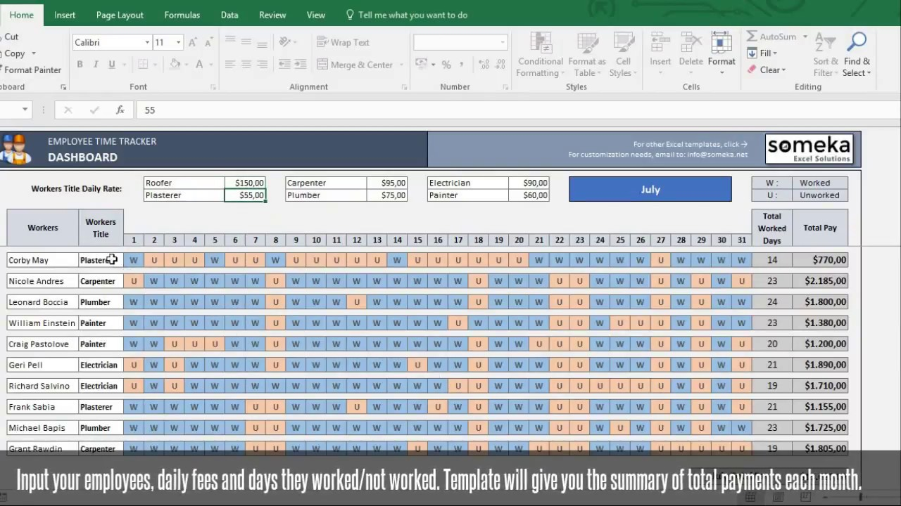 Payroll Timesheet Excel Template