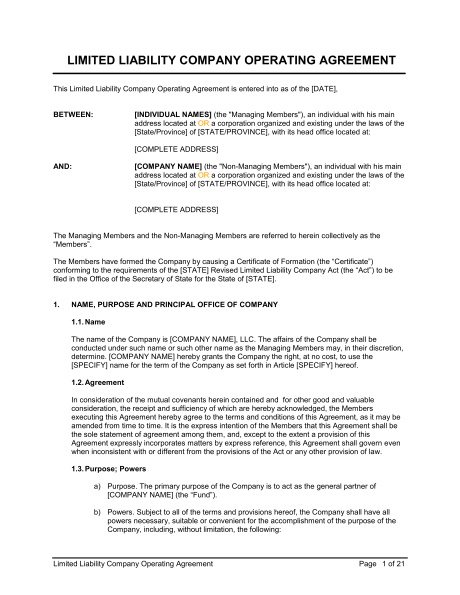 Pdf Business Operating Agreement Template
