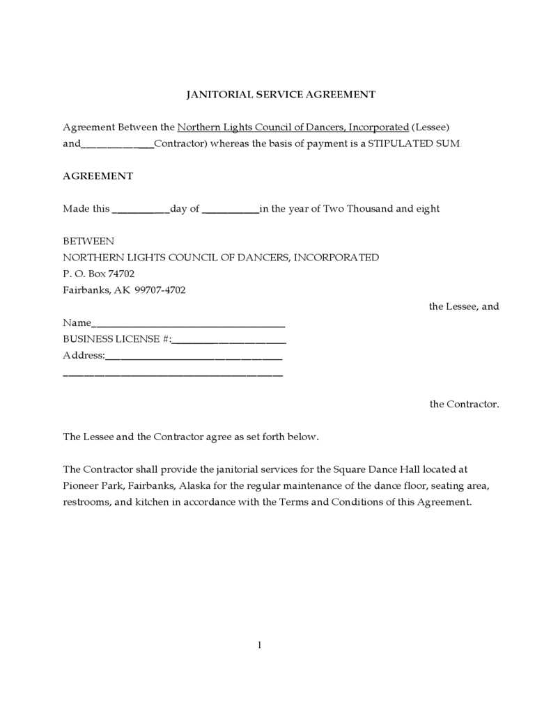 Pdf Janitorial Contract Template