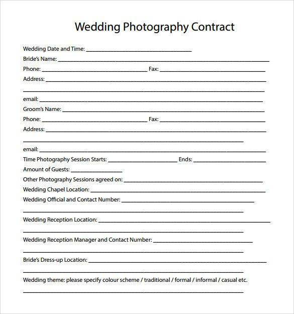 Pdf Wedding Photography Contract Template